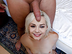Naughty blonde girl gets her tight snatch destroyed by boy next door
