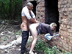 Cute next door blonde gets anal fucked in an abandoned building