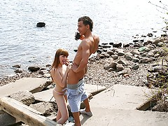 Sexy college redhead girl picked up and took to the harbor where fucked on cam