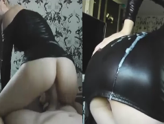Girl In Black Latex Fucked By Long Cock From Behind